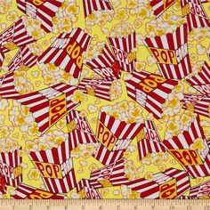 Kanvas That's Hollywood Movie Munchies Butter from @fabricdotcom  Designed by Maria Kalinowski for Kanvas in association with Benartex, this cotton print is perfect for quilting, apparel and home decor accents. Colors include yellow, orange, red, white, and black.