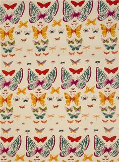cream animal fabric butterflies Alexander Henry USA