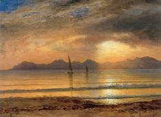 Sunset Over A Mountain Lake - Albert Bierstadt