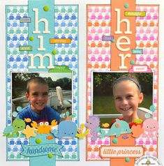 Doodlebug Design Inc Blog: Mix & Match Challenge: Him & Her Layout by Christine