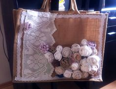 Ugly jute promotional bag upcycled to pretty knitting bag