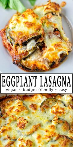 This Eggplant Lasagna is easy to make with simple ingredients, budget friendly and rich in flavor. Once you've tried it you know you will wow everyone, even pickiest eaters. This easy recipe is such a great option for any family meals that you can always count on. No one would ever taste it is entirely vegan so this made it to everyone's plates. #vegan #vegetarian #contentednesscooking #eggplant #comfortfood #lasagna