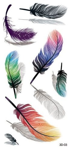 Temporary tattoos are one of the simplest ways to accessorize yourself! Easy to apply. Looks great and they are also conversation starters. Get compliments wherever you go! sheet Each sheet includes: 7 Colorful Temporary Feather Tattoos on 1 sheet Small Feather Tattoo, Feather Drawing, Feather Tattoo Design, Feather Painting, Feather Art, Feather Tattoos, Body Art Tattoos, Neck Tattoos, Drawings Of Feather