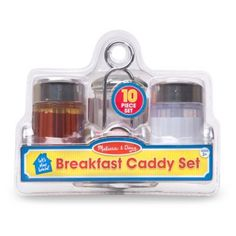 Make the most of pretend play morning meals with the Breakfast Caddy Set from Melissa & Doug. This sturdy metal table caddy holds a creamer and a syrup dispenser, a sugar dispenser, and 3 jelly and jam packets with removable tops. Toys For Girls, Kids Toys, Table Caddy, Sugar Dispenser, Melissa & Doug, Play Food, Morning Food, Craft Stick Crafts, Fun Crafts