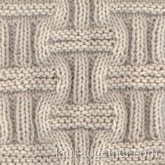 Wicker Stitch Pattern 1, knitting pattern chart, Squares, Diamonds, Basket Stitch Patterns