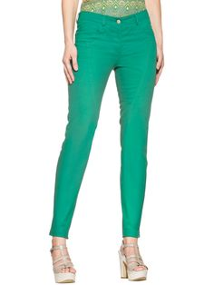 Pantalon slim vert émeraude