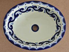 Landhausstil mexikanisches Einbauwaschbecken Modell Ola azul für Badezimmer oder Gäste Toilette in Deutschland bestellbar www.mexambiente-shop.com