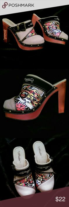 """Tattoo Clogs Canvas upper & wood 5"""" heel; never wore, excellent condition Ed Hardy Shoes Mules & Clogs"""
