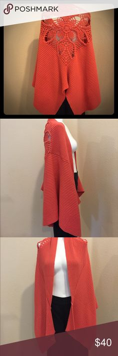 Free People crochet back shawl Free People crochet back shawl. Coral/orange, Acrylic. So Stinking cute!  Hate to part with it!  Worn maybe 5 times Free People Other