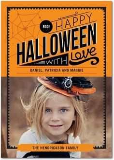 Send a little Halloween love - Halloween Photo Cards in Pumpkin or Khaki | Petite Alma