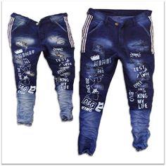 DVG Wholesale - Printed Funky Jeans For Men's 2 colours Set. Torn Jeans, Denim Jeans Men, Sexy Jeans, Latest Boys Fashion, Colour Set, Kids Clothes Boys, Stylish Men, Colored Jeans, Rs 5