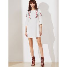 SheIn(sheinside) Bell Sleeve Symmetric Embroidered Tunic Dress (24 CAD) ❤ liked on Polyvore featuring dresses, shift dresses, white embroidered dress, short white dresses, long-sleeve shift dresses and white bell sleeve dress