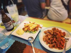 Prawn with Matcha Mayo and Salt and Pepper Pork with Maycha Green Tea and San Mig Pale Pilsen Beer at Cafe Harry