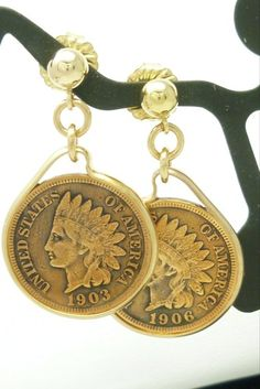Indian head penny coin earrings, are mounted in 14 kt gold filled handmade bezels. This is a unique handmade earring design that you will only find here. Coins were produced by the United States Mint