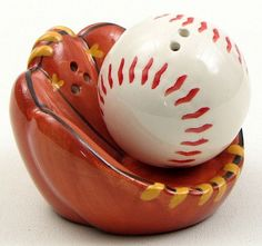 Salt and Pepper Shakers Baseball and Glove Ceramic