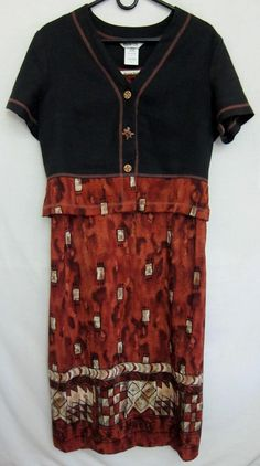 Women'ssize  M 10P Sleeveless Rayon Dress W/ Short Sleeve Jacket Rusty Brown  #PiccalinoPetite #2Piece #WeartoWork