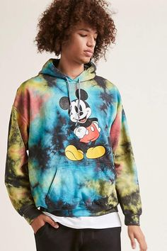 fb865fc9cc3 Forever 21 Mickey Mouse Graphic Tie-Dye Hoodie Tie Dye Sweatshirt