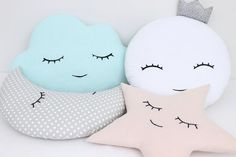 Set of two handmade decorative pillows with hand embroidered face - light coral or yellow star and light gray polka dot moon.  ►Please select style of star face - smiling or sleeping.  Fabric 100% cotton on both sides of the pillows and hypoallergenic poly fiber filling insert.  Moon - 35x20cm (14x8) Star - 38x38cm (15x15)  Machine wash 30C. ►You can also create your own set of moon and star pillows - see the moons here: https://www.etsy.com/listing/238881450  and the star pillows here…