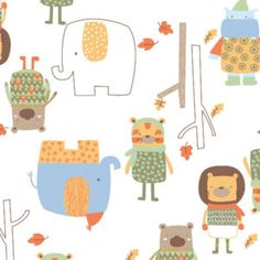 Woodland Adventure Camelot Fabric Modern Forest Animals Critters and Elephants on White. $10.00, via Etsy.