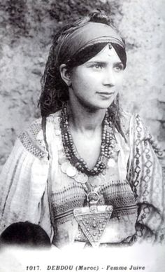 Africa | A young Jewish Berber woman from Debdou, Morocco. ca 1917 | Photographer unknown