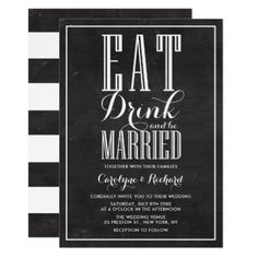 #Rustic Chalkboard Eat Drink and be Married Wedding Card - #country #wedding #celebration #beautiful