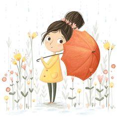 Flowers Illustration Girl Colour New Ideas Art And Illustration, Illustration Inspiration, Watercolor Illustration Children, Little Girl Illustrations, Mode Poster, Whimsical Art, Cute Drawings, Love Art, Illustrators