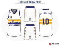 d2d7a2af6533 18TH AVE CREW FDNY White Yellow and Blue Basketball Uniforms