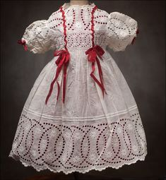 Antique White Original Dress - lots of antique doll clothes, very beautiful