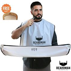 BEARDMAN - Beard Catcher Cape - The Improved Beard Apron with Strong Suction Cups for Mirror - Wooden Beard Comb Included with the Hair Trimming Catcher - Valentines Day Gifts for Him Men - White Beard Apron, Thing 1, Valentines Day Gifts For Him, My Man, Birthday Gifts, Best Gifts, Boyfriend, Catcher, Husband