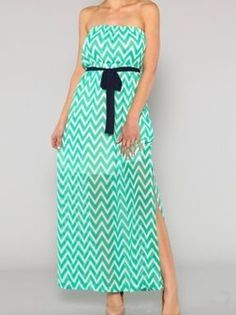 Mint Chevron Maxi with Sash - $42.99 : FashionCupcake, Designer Clothing, Accessories, and Gifts