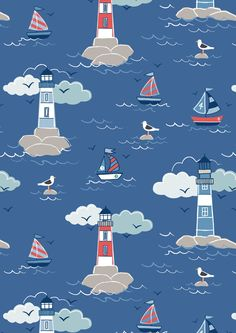 Coastal Light House Dk Blue LEIA75-2