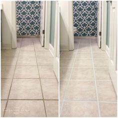 How to Make Grout White Again Clean Bathroom Grout, Clean Tile Grout, How To Clean Grout, Beige Tile Bathroom, Tile Grout Cleaner, Cleaning Ceramic Tiles, Ceramic Tile Bathrooms, Grout Paint, Sanded Grout