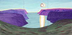 David Hockney: Tujfjord Nordkapp II, 2002 watercolor on paper sheets), in. David Hockney Landscapes, David Hockney Art, David Hockney Paintings, Pop Art Movement, Portraits, Land Art, Painting & Drawing, Lake Painting, Fruit Painting