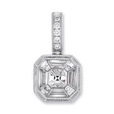 14k White Gold Diamond Pendant - .51 dwt, Women's