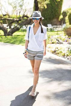 Coachella-Inspired Outfit Ideas to Try All Spring and Summer: Stay Sun-Safe in a Hat and Reflective Sunglasses