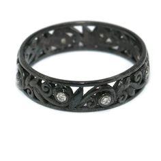 Black Gold Diamond Wedding Ring, Vine And Leaf Ring, Filigree Pattern Wedding Matching Band, Diamond Eternity Band, Ready To Ship, Size 6 by BridalRings on Etsy https://www.etsy.com/listing/291108163/black-gold-diamond-wedding-ring-vine-and