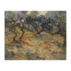 Olive Trees by Vincent Van Gogh Wood Panel #Print. #VanGogh #art #reproductions #poster #painting #olive #trees #olives #landscape #postimpressionism #expressionism