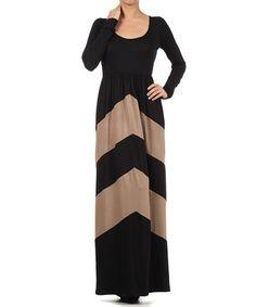 Another great find on #zulily! Black & Brown Chevron Maxi Dress - Plus #zulilyfinds