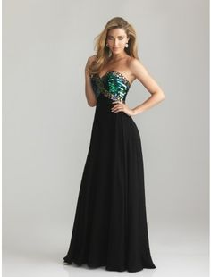 A-Line Sweetheart Chiffon and Sequins Long Prom Dress