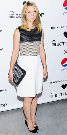Claire Danes showed her support for conscious consumerism at the launch of Narciso Rodriguez's new eco-friendly handbag designs for the Bottletop Foundation, aptly accessorizing her color-block net-top Narciso Rodriguez dress with one of the clutches and black pumps.