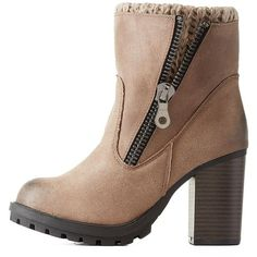 Charlotte Russe Taupe Layered Lug Sole Chelsea Booties by Charlotte... ($49) ❤ liked on Polyvore featuring shoes, boots, ankle booties, taupe, thick heel boots, ankle high boots, charlotte russe boots, rubber sole boots and pointy toe boots