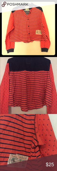 Vintage 80/90s button up top Sooooo cute. Looks really cute with mostly everything. It's a little shorter than a normal top, almost a crop top, could be depending on fit. It's got cute pleating in the back and is a little longer in the back as well. Has stars on arms and stripes on body. Has a dark denim look on collar and back. Soft and comfy to wear. No size tag but i would say it fits s-xl. I'm a medium about, for reference. Vintage Tops
