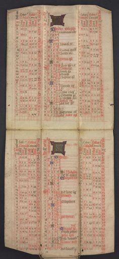 "Rosenbach's ""bat book""--a girdle book with sheets that unfold (OPenn: MS 1004/29 Almanack)"