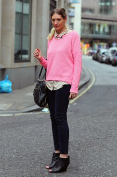 I continue to need both the perfect pink sweater and shoes like these.