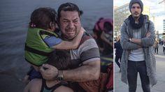 Dieses Foto (l.) am Strand von Kos wurde zum Sinnbild des Flüchtlingssommers 2015. Laith Al-Amirij (44) drückt seine Kinder Nour (7) und Taha (9) an sich. Sohn Mustafa (19, l.) ist allein in Berlin geblieben