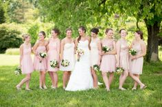 pretty mismatched pink bridesmaids dresses | Pink and White Mountain Wedding Ideas | Abby Grace Photography | Heart Love Weddings