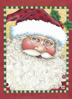 """Spectacles Santa - Mary Engelbreit - Christmas Card. This very merry Santa Claus is sure to invoke the idyllic vision of Santa every child dreams of. Add a sweet message to spread some holiday cheer! 5"""" x 7"""" Folded Card. Price: $2.99"""