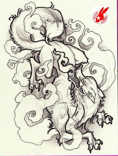 japanese fox demon tattoo design by jackie rabbit