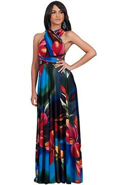d88ac8e9f6a KOH KOH Women s Convertible Wrap Infinity Floral Summer Maxi Dress A  beautiful infinity wrap maxi dress from Koh Koh that feature a timeless  summer floral ...