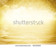 Background for the text, Flickering heaven over water, golden. A background substrate with clouds and stars over water. The handbill, for letters, verses, invitations.